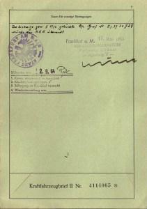 Einzug des Vorbesitzers-Briefs bei Anmeldung im Jahr 1963 und Stilllegungsvermerk von 1964